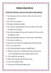 English worksheets: subject and predicate worksheets