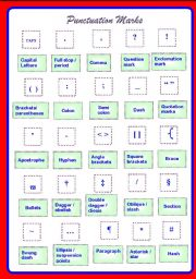 English Worksheet: Poster on 25 Punctuation Marks ** fully editable