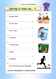 English Worksheets: Write the questions: Getting to know you (1)