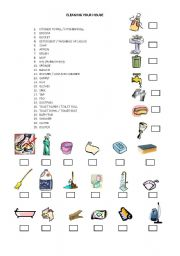 English Worksheet: CLEANING YOUR HOUSE - VOCABULARY