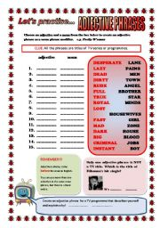 English Worksheet: LET�S PRACTISE...ADJECTIVES (ADJECTIVES IN NOUN PHRASES) ELEMENTARY