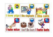 English Worksheets: I love, like don�t like hate 2