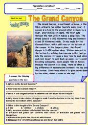 English Worksheets: The grand canyon