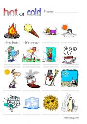 Hot or Cold?: worksheets and flash cards part 1 of 2 (5 pages)