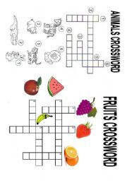 English Worksheets: Animals and Fruits Crossword