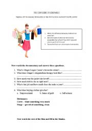 English worksheet: True Confessions of a Shopaholic documentary