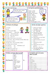 English Worksheets: Speaking series (1 ) - Personal information  -