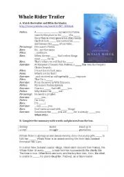 English Worksheet: Whale Rider Trailer and Summary