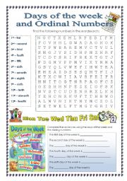 English Worksheet: Days of the week and Ordinal Numbers