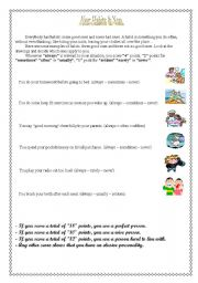 English Worksheets: your habits & you