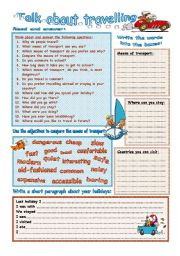 English Worksheet: Talk about travelling
