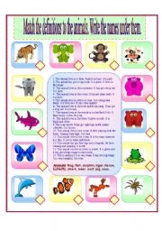English Worksheets: Match the difenitions to the animals.