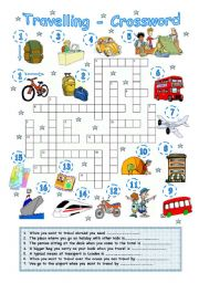 English worksheet: Travelling 2 - Crossword
