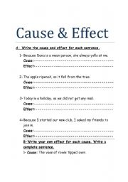 English teaching worksheets: Cause and effect connectors