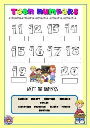 WRITING TEEN NUMBERS 11 TO 20