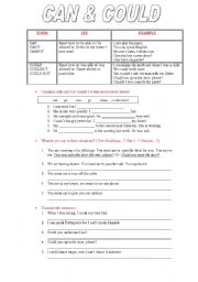 English Worksheet: CAN and COULD