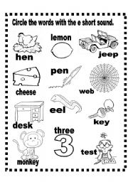 English Worksheets: Short e  and o sound