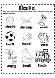 English Worksheets: short a sound