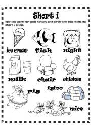 English Worksheets: Short i sound