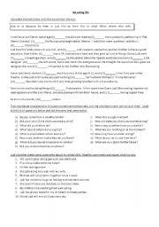 English Worksheets: PET - Reading and grammar