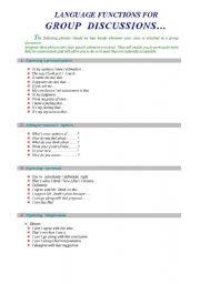 English Worksheet: language functions