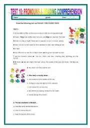 English Worksheets: TEST10: READING COMPREHENSION #3 & PRONOUNS