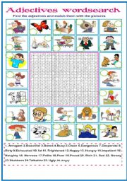 English Worksheets: Adjectives wordsearch