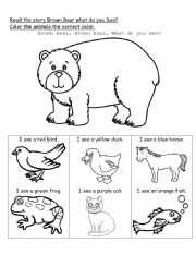 English Worksheet: Brown Bear what do you see?