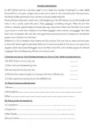 English Worksheet: hollywood reading comprehension