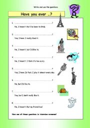 English Worksheets: Write the questions: Have you ever?