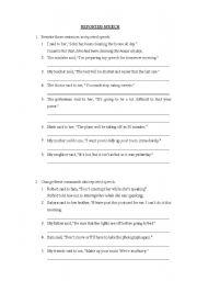 Grammar worksheets > Direct/reported speech > Reported speech