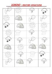 English Worksheet: DOMINO - weather conditions
