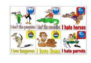 English Worksheets: I love, like, don�t like hate 3