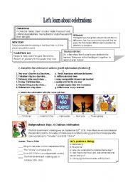 English worksheet: celebtations around the world