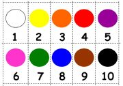 Numbers and colours. Mini-flashcards games