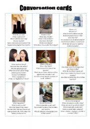 English Worksheet: Conversation cards 4
