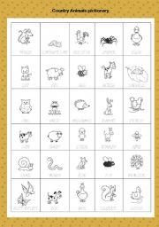 English Worksheets: animals pictionary part1