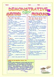 English Worksheet: DEMONSTRATIVE: ADJECTIVES AND PRONOUNS.