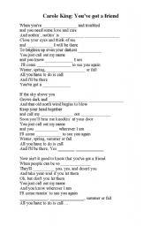 English Worksheet: You´ve got a friend - song lyrics