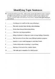 English Worksheets: Topic Sentences