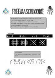 English Worksheets: Freemason code
