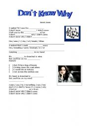 English Worksheets: Don�t Know Why- Norah Jones