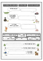 English Worksheet: MEETING PEOPLE: basic dialogues - very simple