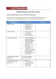 English Worksheet: Oral Presentation - preparation