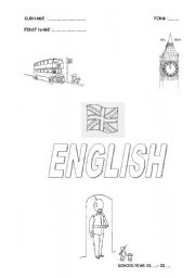 English Worksheets: Frontpage for the English course