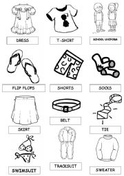 English Worksheet: shoes and clothes pictionary