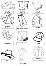 English Worksheet: shoes and clothes pictionary set  2