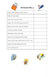 English worksheet: Find Someons Who