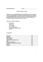 English Worksheet: Civil War: North vs. South Project