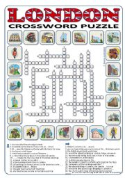 English Worksheet: London Crossword Puzzle 24 words